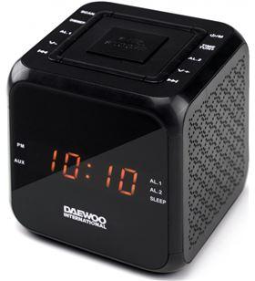 Reloj despertador Daewo DCR450B, diseño cubo negro - 8413240599531