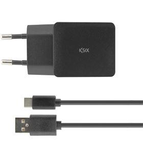 Ksix cargador pared 2.4a usb + cable usb a tipo c de 1m negro conbxcdc04 - 8427542095974