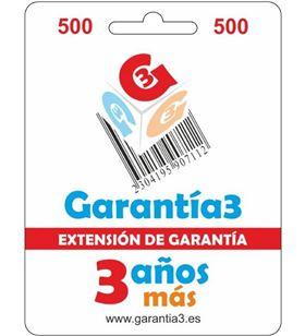 Garantia para productos hasta 500eur. extensión de garantía de tres años adicionales g3es500