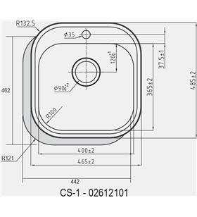 Cata fregadero sobre encimera cs1 cubeta 02612101 Fregaderos - 02612101