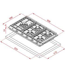 Placa gasTeka ex9015gaialdrcileftnat inox 90cm 5qu 40212290 - 8421152152997