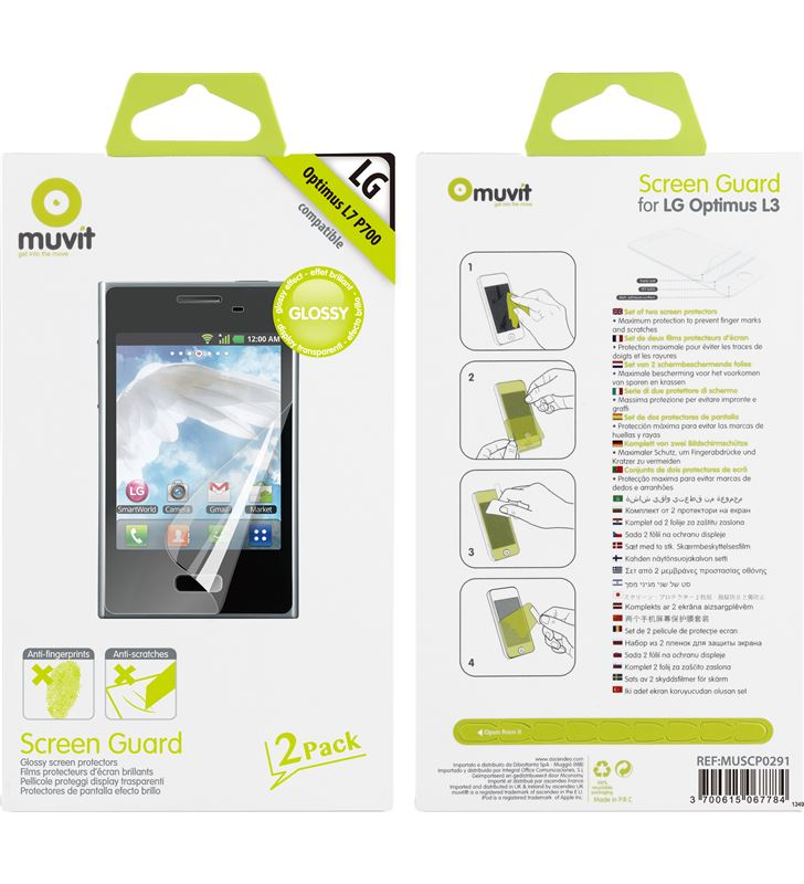 Muvit set dos protectores pantalla brillo antihuellas lg muscp0291 - 18600432_5012