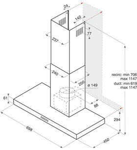 Indesit campanas HHBS 7.7F LT X Campanas extractoras decorativas - HHBS 7.7F LT X