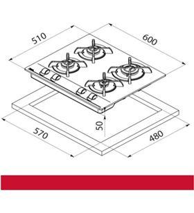 Teka 112580005 placa gas gbc 64000 xbb gas butano Placas encimeras - 8434778003635