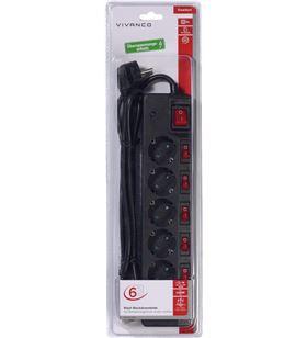 Regletea x 6 protecc. interruptor negro Vivanco 37326 - VIV37326