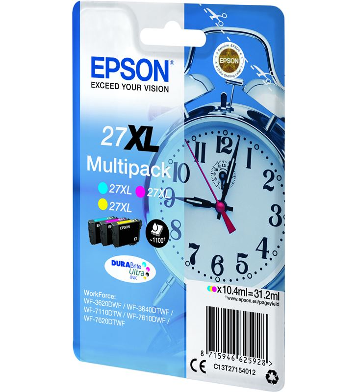 Epson C13T27154012 cartucho tinta multipack 27xl - amarillo / cian / magenta - 31.2ml - - 33622530_5648813688