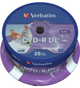 Tarrina de dvd doble capa Verbatim 25 unidades dvd+r dl 8.5gb 8x 43667 - VERB-DVD 25 R DL