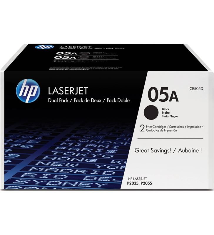 Pack 2 toners negros Hp nº05a - 2300 páginas por cartucho - para laserjet p CE505D - CE505D