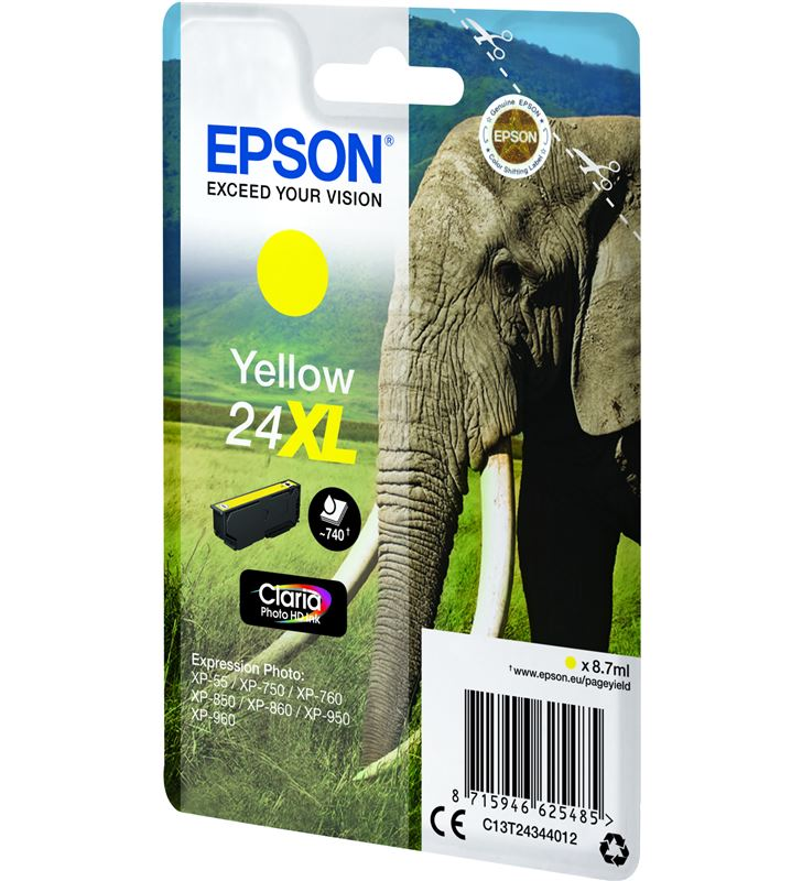 Cartucho Epson 24xl 8.7ml amarillo - elefante C13T24344012 - 33622486_9936741860