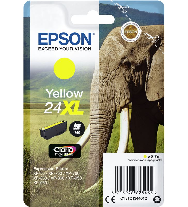 Cartucho Epson 24xl 8.7ml amarillo - elefante C13T24344012 - 33622486_4750557196