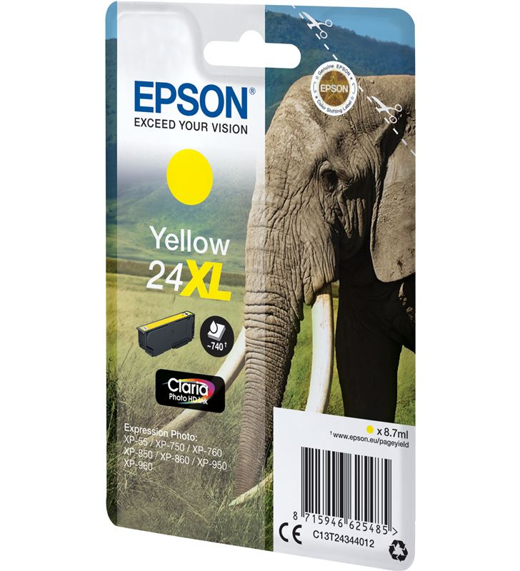 Cartucho Epson 24xl 8.7ml amarillo - elefante C13T24344012 - 33622486_5147163476