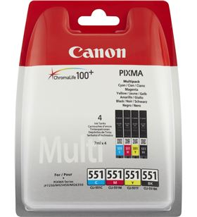 Multipack 4 cartuchos tinta Canon 551 - cian - magenta - amarillo - negro - 6509B009 - CAN-MULTIPACK 551