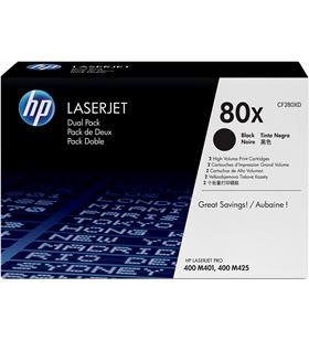 Toner negro Hp nº80x dual pack 6900 páginas para Hp laserjet pro 400 m401 / CF280XD - CF280XD