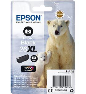 Cartucho Epson 26xl 8.7ml negro foto - oso polar C13T26314012 - EPS-C13T26314012