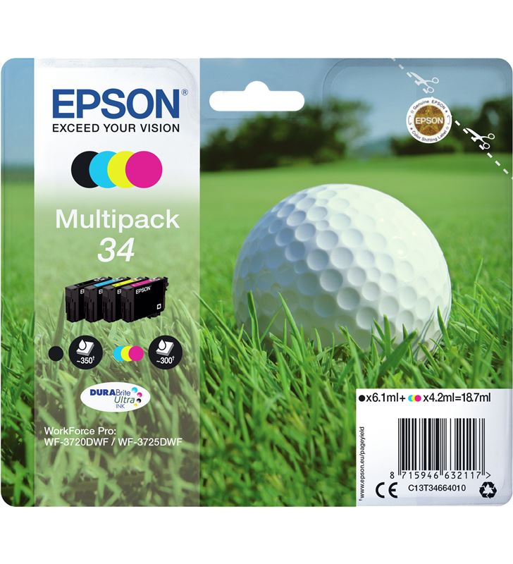 Cartucho tinta Epson t346640 multipack 34 - 18.7ml - 4 colores (negro / ama C13T34664010 - 36132391_6094905882