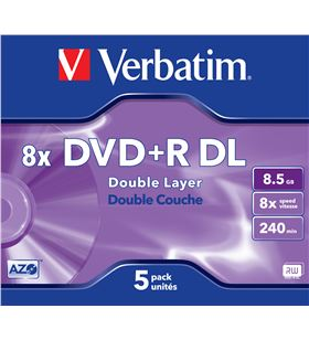 Dvd+r Verbatim 8,5gb doble capa VERDVDRDL DVD Grabador - 023942435402
