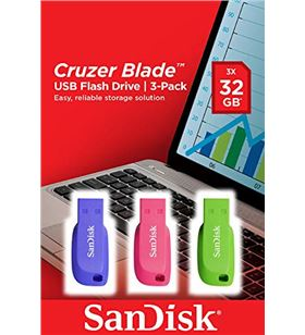 Pack 3 pendrives Sandisk cruzer blade 32gb - usb 2.0 - colores azul / rosa SDCZ50C-032G-B4 - SND-USB CB 32GB X3