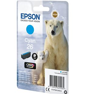 Cartucho tinta cian Epson 26 - 4.5ml - oso polar - compatible según especif C13T26124012 - EPS-C13T26124012