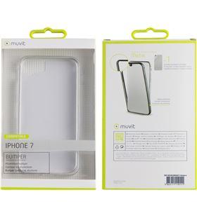 Funda bumper Muvit+nanofilm post. iphone 7 plata MUBUM0007 - MUBUM0007
