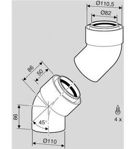 Bosch accesorio evacuación calentadores az268 codo 45º 7719001787 - 4010009570226