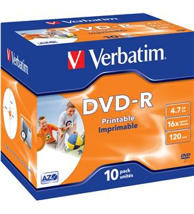 Dvd-r Verbatim imprimible pack 10 uds 16x jewel case 43521 - VERB-DVD-R 4.7GB 10U IMP