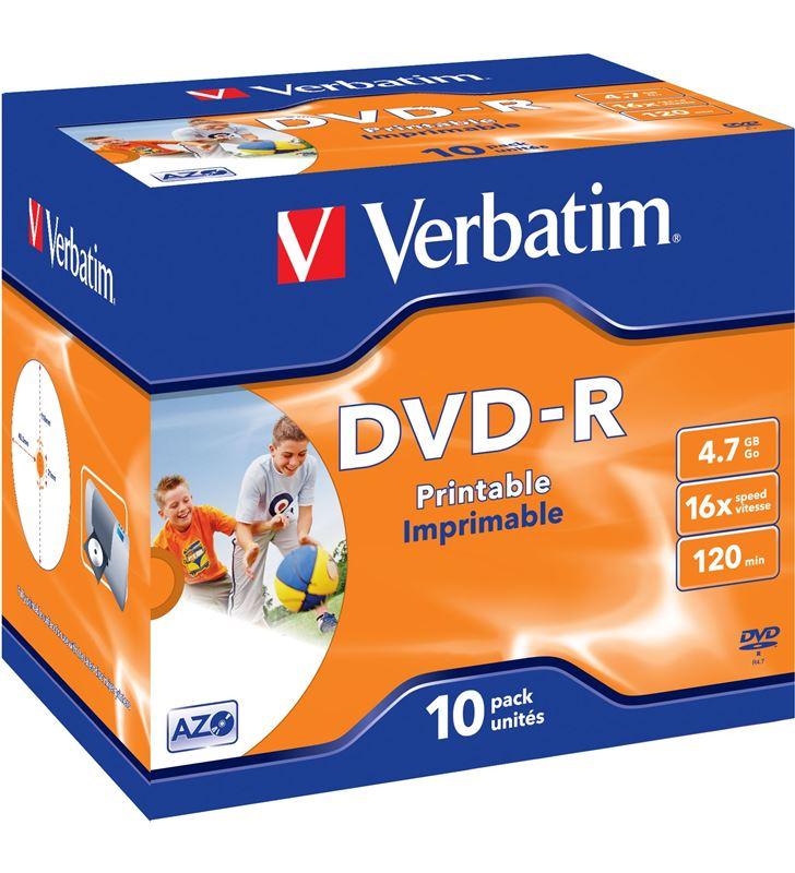 Dvd-r Verbatim imprimible pack 10 uds 16x jewel case 43521 - VERB-DVD-R 4.7GB 10U IMP