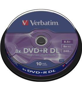 Dvd+r doble capa Verbatim advanced azo 8x 8.5gb tarrina 10 unidades 43666 - VERB-DVD+R DC 8.5GB 10U
