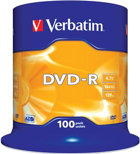 Verbatim 43549 dvd-r advanced azo 16x 4.7gb tarrina 100 unidades - VERB-DVD-R 4.7GB 100U