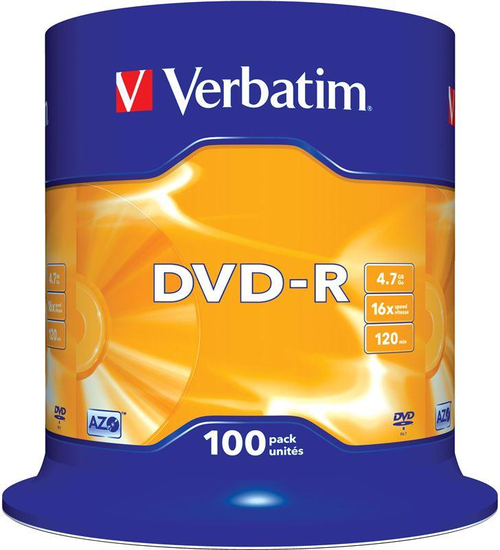 Dvd-r Verbatim advanced azo 16x 4.7gb tarrina 100 unidades 43549 - VERB-DVD-R 4.7GB 100U