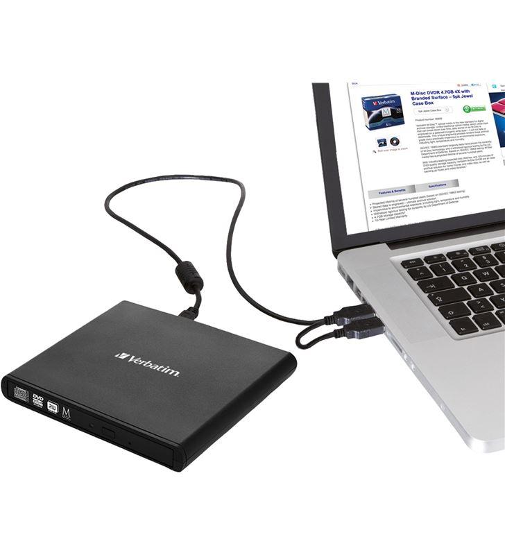 Grabadora externa cd/dvd slimline Verbatim 98938 black - cd 24x - dvd 8x - - 32296751_6921439193