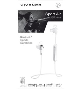 Auriculares deporte Vivanco sport air fitness bluetooth blanco 38921 - 38921