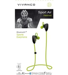 Auriculares deporte Vivanco sport air helmet bluetooth negro verde 38918 - 38918