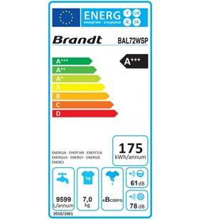 Brandt lavadora carga frontal BAL72WSP 7 kg 1200 rpm a+++ - 6133826002744