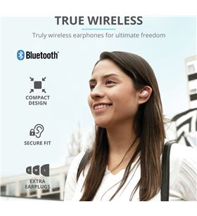 Auriculares bluetooth Trust nika touch blue - bt5.0 tws - drivers 10mm - co 23702 - TRU-AUR 23702