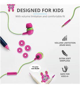 Auriculares intrauditivos infantiles Trust buddi kids pink - limitación de 23420 T - TRU-AUR 23420