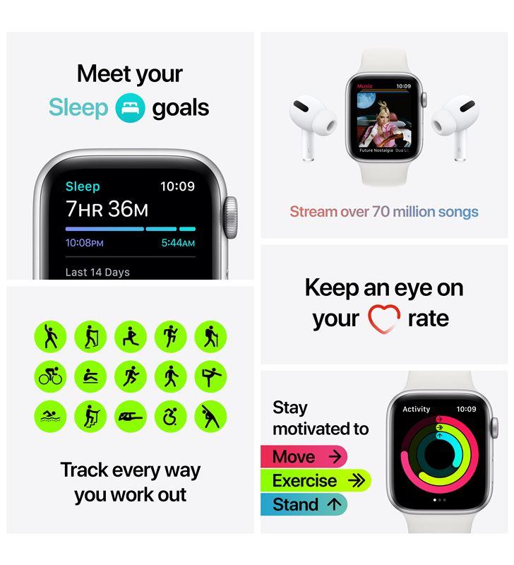Apple watch se 44mm gps cellular caja aluminio con correa blanca sport band MYEV2TY/A - 85937451_5438746844