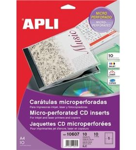 Sihogar.com 10607 blister 10 carátulas microperforadas para cd/dvd apli - impresión in - API-CARATULA 10607