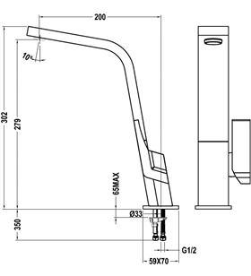 Grifo Teka ic915c, monomando, caño alto, cromo 339150200 - IC915C