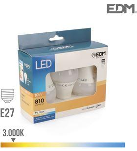 #000054 ELEK98206 kit 3 bombillas standard led e27 10w 3200k luz cãlida - ELEK98206