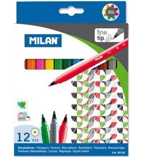 Milan caja 12 rotuladores milán 80158 - punta fina - 2mmø - tinta base agua - col - MIL-ROTU 80158