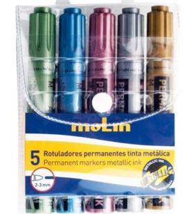 Sihogar.com pack 5 rotuladores molin rtm230-05 - tinta metálica - punta redonda 2-3mm - - MOL-ROTU RTM230-05