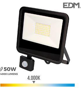 Edm foco proyector led 50w 4000 lm 4000k luz dia con sensor de presencia 8425998703580 - 70358