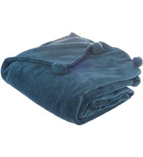 Atmosphera manta extrasuave modelo pompones color azul marengo 125x150cm 3560234475687 - 68011