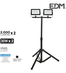 Edm foco proyector led con tripode 2x 30w 6400k 2 x 2000 lumens 8425998703191 - 70319