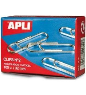 Sihogar.com caja de 100 unidades de clips plateados apli - nº2 - 32mm 11714 - 11714