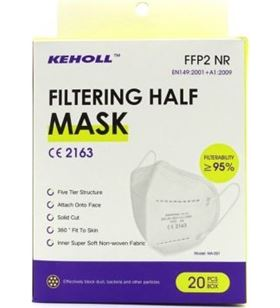 Sihogar.com mascarillas ffp2 keholl/ pack 20 uds/ blancas ma-001 - KEH-MASC MA-001