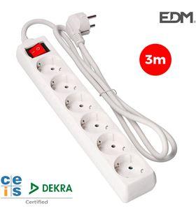 #000050 41046 base mãºltiple 6 tomas cable de 3 m t/tl 3 x 1,5 mm - ELEK41046