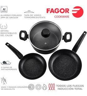 Fagor bateria vivant 4 piezas negra aluminio 3004 8429113800680 - 78554