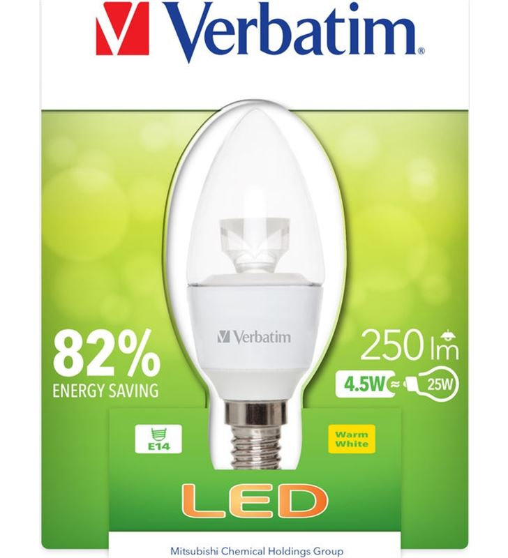 Verbatim bombilla led verbatin 52603 vela e14 (transparente - 0023942526032