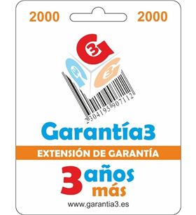 Garantia para productos hasta 2000eur. extensión de garantía de tres años adicionales g3es2000